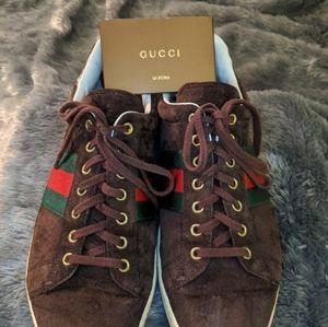 Gucci crocodile brown suede sneakers
